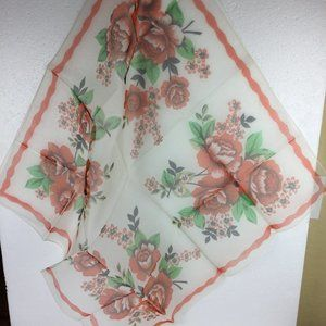 Vintage Large scarf 100% nylon square Flowers